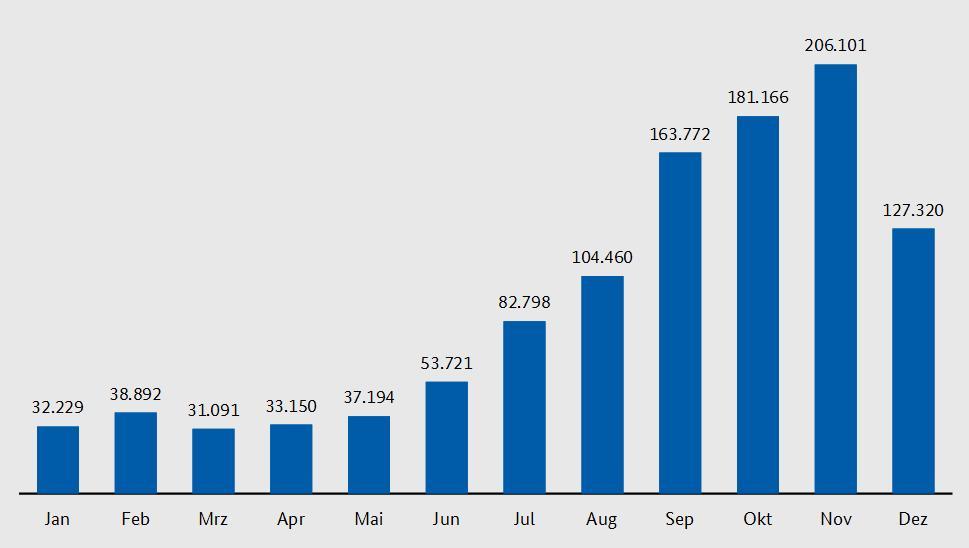 Vývoj počtu žiadostí o azyl v roku 2015 (január-december) (Zdroj: Kriminalität im Kontext von Zuwanderung Bundeslagebild 2015)